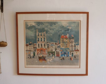 """French Artist Michel Delacroix (B. 1933) Pencil Signed & Numbered Lithograph, Limited Edition # 103 /150 ~ Framed 31"""" * 28"""" ~ Free USA Ship"""