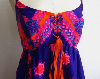Vintage 60s Hawaiian Bright Pink & Purple Tiki Empire Waist Summer Maxi Dress