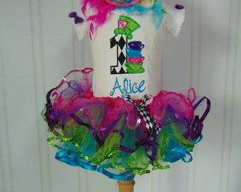 Alice in Onederland Birthday Outfit- Embroidered and Personalized Onesie/T-Shirt/Tutu. Alice in Wonderland Birthday with over the top bow