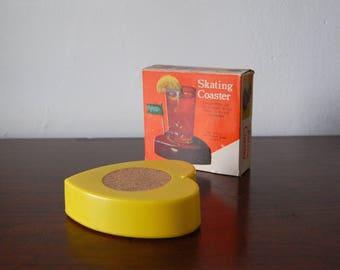 Vintage Skating Coaster - Vintage Moving Coaster - Vintage Barware - Funny Kitschy 1960s Bar Decor - Original Packaging - 60s Barware