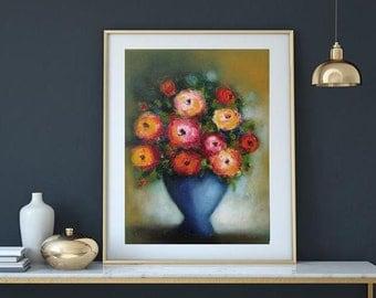 "Original oil or printing giclee canvas or paper, Boho floral art, home decor orange vase, Oil on canvas 18""x24"" modern still life"