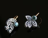 Dainty asymmetrical sterling silver lace earrings - with 14k gold ear wires and  natural sapphire brilliants