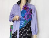 1X  Lavender Tunic Flowers and Dots