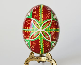 Red Pysanka egg for Christmas basket perfect gift for mother in-law Easter tradition collection tree ornament and batik handmade eggs