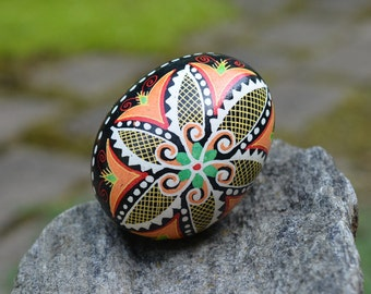 Easter Pysanka with scrolls and windmills symbol of new energy fresh start spring greenery decoration for table centerpiece or Easter basket