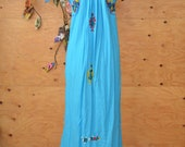 Vintage Bold Beautiful Mexican Ethnic Embroidered Maxi Caftan In Blue & Rainbow Colors One Size