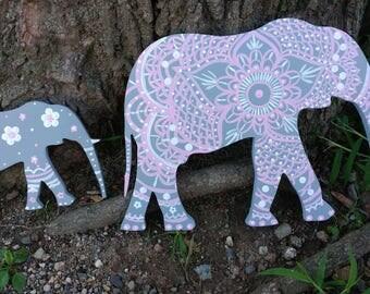 Ready to ship - Hand Painted Mandala Style Elephants - Wood Elephants - Nursery Decor - Hand Painted Elephant Set