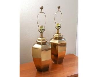 PAIR Asian Brass Ginger Jar Lamps Hollywood Regency