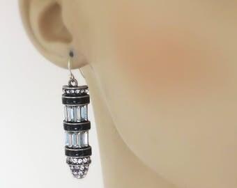 Art Deco Earrings - Vintage Ispired - Crystal Earrings - Wedding Earrings - Silver Platinum Earrings - Black Earrings -  handmade jewelry