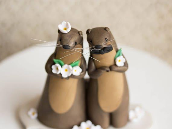 Otter Wedding - River Otter Cake Topper by Bonjour Poupette