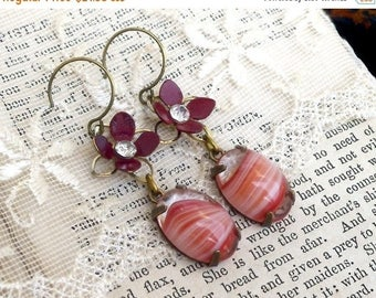 MOVING SALE On Sale Burgundy Swirl, Vintage Givre Burgundy and White Glass Jewels and Vintage Burgundy Enamel Flower Assemblage Earrings