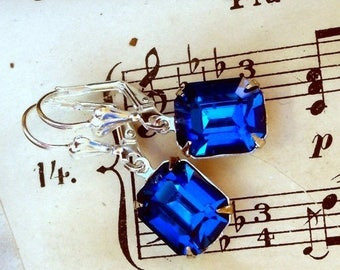 MOVING SALE On Sale Simple Sapphires and Silver , Vintage Swarovski Sapphire Blue Old Hollywood Style Rhinestone Octagon Jewel Earrings