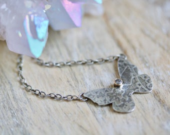 Diamond Butterfly Necklace, Sterling Silver Butterfly Pendant, 14K Gold Charm Necklace...On These Wings