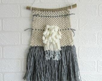 Wall Hanging Weaving Weave Woven Fiber Cream Grey Nursery Room Decor