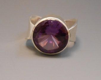 Alexandrite Created Recycled Gemstone Sterling Silver Ring June Birthstone Twist Ring