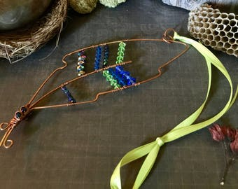 Hand Forged Wire Wrapped Copper Feather Suncatcher