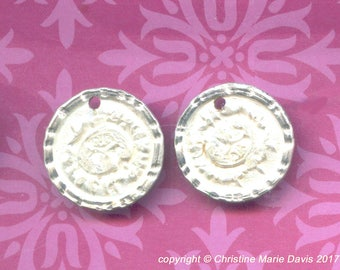 2 Hand-Smashed Button Charms...Silver Gypsy Lady... vintage metal buttons for charm bracelets or earrings -Handmade Vintage Charm