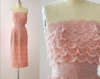 Vintage 1960's Pink Lace Ruffled Party Dress