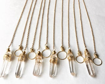 Crystal point Lariat necklace, rustic crystal point necklace, lariat necklace, rock crystal lariat, simple crystal lariat necklace