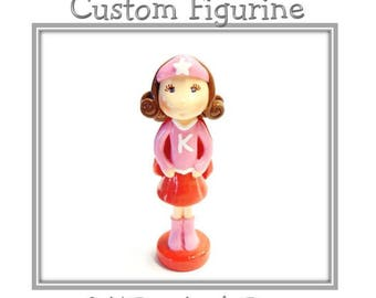 Custom Super Hero Girl Figurine, Personalized Cold Porcelain Clay Super Girl Cake Topper, Wonder Girl Cake Topper, Birthday Hero Cake Topper