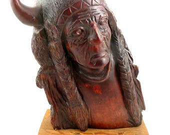 BIG Vintage 1950s 60s Handmade Carved Wood Native Tribal CHIEFTAIN Statue FIGURE