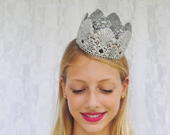 """Silver Mermaid Princess Lace Crown - """"Mermaid Crown"""" - fairy tale, halloween, birthday crown, bridal crown, queen"""