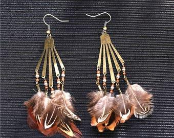 Boho feather earrings - surgical steel earrings, stainless steel, nickel free, hypoallergenic