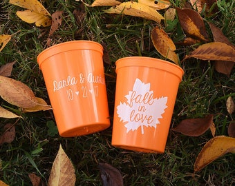 Fall Wedding Favors - Fall in Love Rustic Personalized Wedding Cups, Shower Favors for Guests, Wedding Reception Party Cups, Stadium Cups
