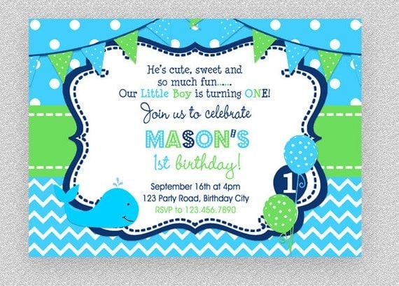 Whale Birthday Invitation Party Boys