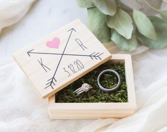 Wedding Ring Box Personalized Name, Wooden Box for Wedding Bridal Party Gift Name Box (Item - WRA340)