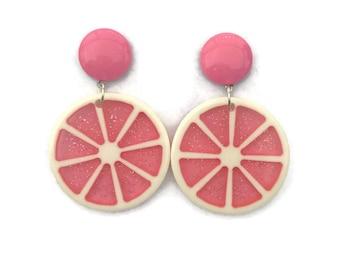 Pink Grapefruit Slice Earrings - Retro Fruity - Glitter Plastic Dangle Earrings - Handmade in USA - Women's, Rockabilly, Pinup Jewelry