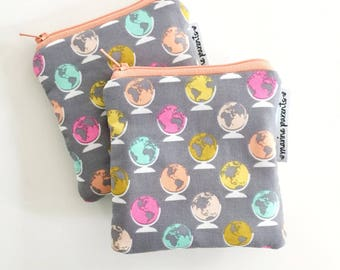 colorful globes mini pouch