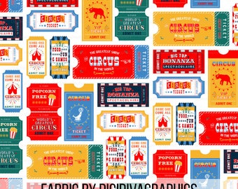 Retro Circus Tickets Fabric By The Yard - Circus Carnival Show Tickets Print in Yards & Fat Quarter