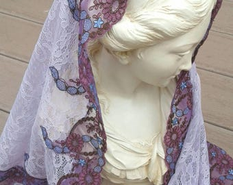 Lilac Mantilla Honouring St. Elizabeth of Portugal, Veil, Head Covering