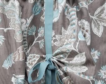 Valance Kitchen Curtains Jacobean Designer Fabric Taupe And Aqua Multi Color