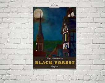 Old World Decor 18x24 Poster Fine Art Print Black Forest Germany Romantic Art Full Moon Wall Art German Gifts