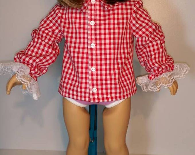 Red gingham long sleeve shirt 18 inch dolls