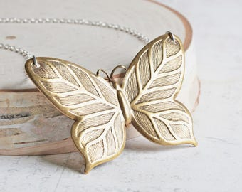 Large Antiqued Brass Butterfly Pendant Necklace on Silver Plated Chain