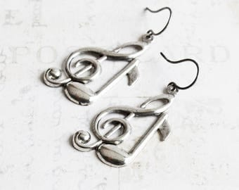 Rustic Antiqued Silver Plated Treble Clef and Note Music Charm Earrings