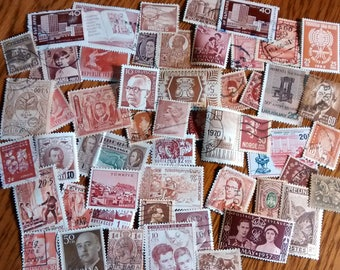 50 Brown Used World Postage Stamps for crafting, collage, cards, altered art, scrapbooks, decoupage, history, collecting, philately 1b