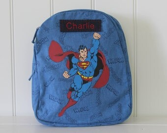 Superman Cape Backpack With Monogram Pottery Barn (Preschool Size)