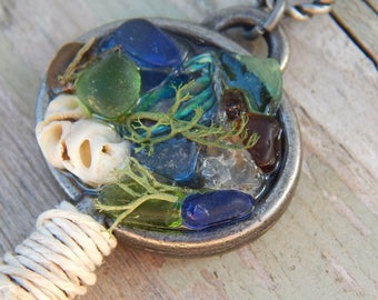 ABALONE and SHELL Beach Glass Treasure Mermaids Key Pendant Necklaces Ocean Jewelry Sea Glass Gifts Siren Keys Cobalt Blues Beach Lovers