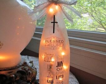 christian gits ideas,religious,bible verses,Scriptures,wine bottle lights,lighted wine bottles,wine bottle lamp,lamps,bottle lights,wine