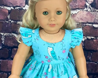 18 inch doll clothes AG doll clothes Blue Owl dress made to fit dolls like american girl doll clothes. Wellie size available