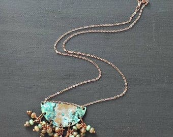 Verdigris Blue Green Patina Brass Charm Necklace wtih Rose Gold Tone Chain and Blue Green Amber Brown Beads HerAnniversary Gift for Her