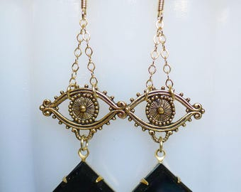 Egyptian Eyes // Gold Plated Third Eye Earrings with 1950s Jet Glass Gems, Evil Eye Boho Bohemian Witch Gypsy Occult Masonic Witchcraft Deco