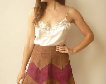 Vintage 1970's High Waisted Patchwork Suede Mini A-Line Skirt Size Small