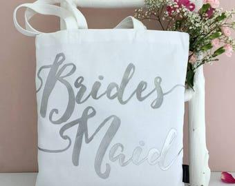 Bridesmaid | Silver On White | Bridesmaid Bag | Bridesmaid Gift | Be My Bridesmaid