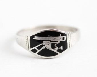 Machine Gun Ring - Antique 800 Silver WWI German Military Memorabilia Signet - Vintage Size 9 3/4 Black Enamel World War I Germany Jewelry