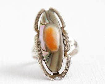 Blister Pearl Ring - Vintage Sterling Silver Art Deco Band - Size 6 Floral Decorative Etched 1930s Colorful Statement Oval Gemstone Jewelry